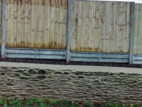 Site Creech St Michael, Taunton - Close board panel fence with 300mm gravel board set into concrete rebated posts