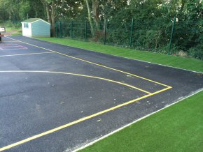 Artificial Grass, new Tarmac playground and playground markings at Ruiston school