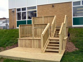 Timber decking that provides a mixture of uses e.g. recreational area, observation area, relaxation area
