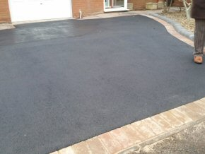 Overlay tarmac with new block paved back edging and Indian sandstone path in Galmington, Taunton